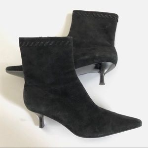 Enzo Angiolini Black Suede Leather Ankle Booties